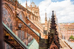 View on the spires of the main cathedral in Strasbourg city in France