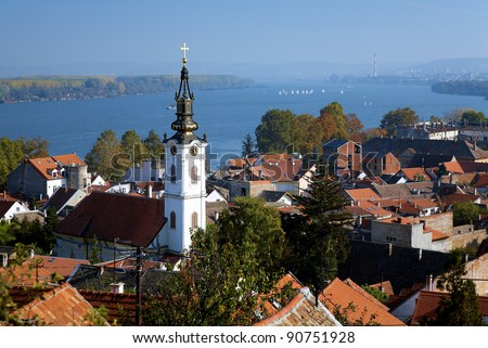 View on the St. Nicholas Church, Danube river and Belgrade from the Gardos hill in Zemun, Serbia