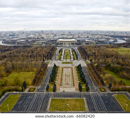 View on the stadium Luzhniki and a panorama of the city from the Moscow university - stock photo