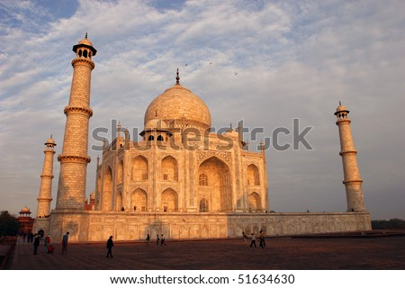 View on the Taj Mahal from the Western side at sunset