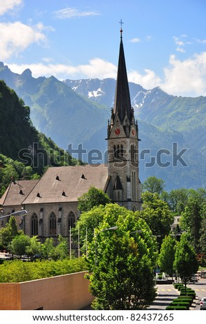 View on the Vaduz Cathedral (Cathedral of St. Florin), Lichtenstein - stock photo