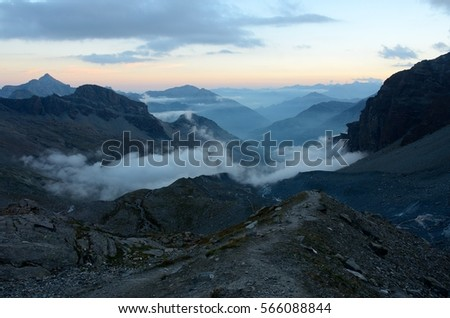 View on the valley at dusk, Aosta Valley, Italy #566088844
