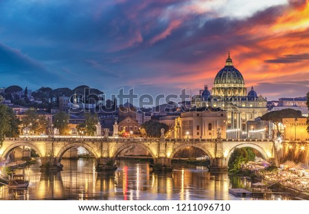 View on the Vatican in Rome, Italy, at sunset with dramatic sky. Scenic travel background.