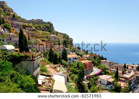 view on town Taormina from Castelmola, Sicily, Italy