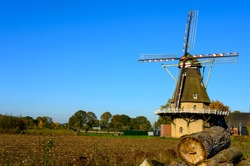 View on traditional Dutch wind mill in Oerle, North-Brabant, Netherlands