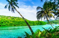 View on tropical lagoon in the jungle on Koh Kood island - Thailand