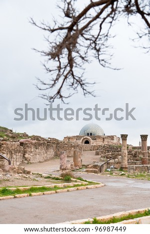 view on Umayyad palace  in antique citadel in Amman, Jordan