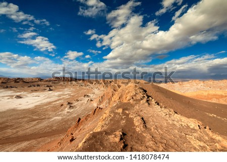 View on Valle de la Luna. Atacama desert. Chile. South America. The photo does not contain posterization and noise. It is  clay dust and sand. Soft focus. Main focus on Main focus on the bottom