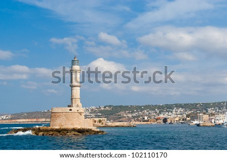 View on venetian lighthouse and harbour in Chania. Crete. Greece