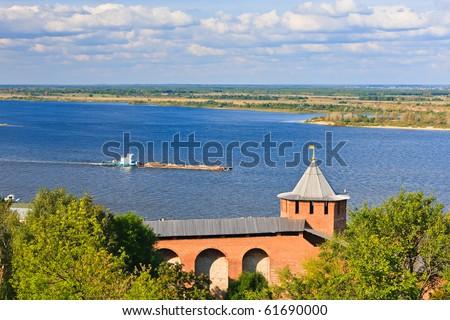 View on Volga river from Nizhny Novgorod Kremlin, Russia