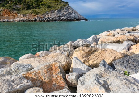 View on water and rocks, landscape, Cinque Terre, Italy #1399822898