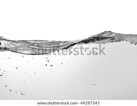 view on water surface on white background