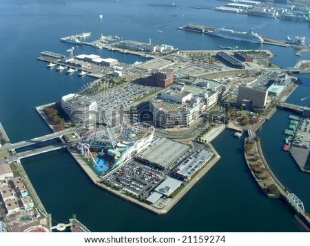 View on Yokohama harbor, Japan