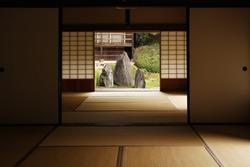 View on zen garden from inside buddhist temple in Kyoto (Komyo-in)