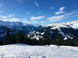View onto the Alps in Winter Season