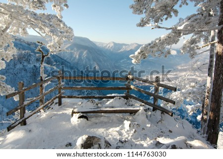 View onto the Drina River in the Tara Mountains (Serbia) #1144763030