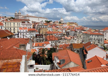View over Alfama district in Lisbon / Portugal, which is a world heritage site.
