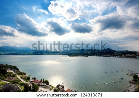 View over an Austrian Lake - stock photo