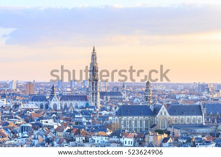 View over Antwerp with cathedral of our lady taken, Belgium