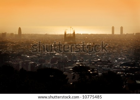 View over Barcelona with Sagrada Familia and Akbar tower