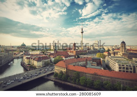 View over Berlin Skyline (TV Tower, Alexanderplatz, Town Hall, River Spree and Berlin Cathedral), Germany, Europe, vintage filtered style