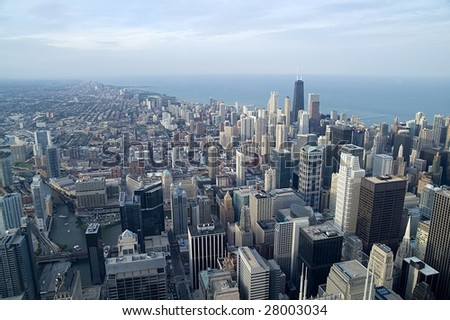 View over Chicago and Lake Michigan