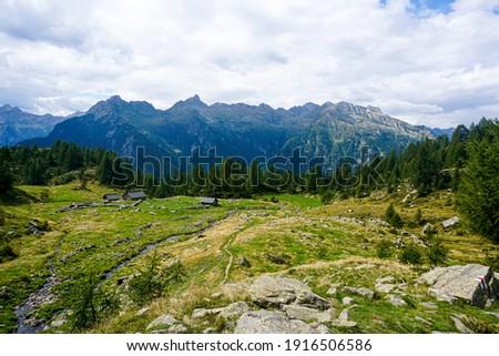 View over Corte di Mognola to the Pizzo di R?d mountain range, Ticino, Switzerland Stock fotó ©