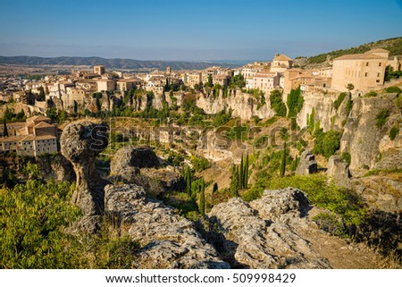 View over Cuenca old town sitting on top of rocky hills, Castilla La Mancha, Spain #509998429
