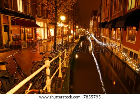 View over Dutch canal during the night
