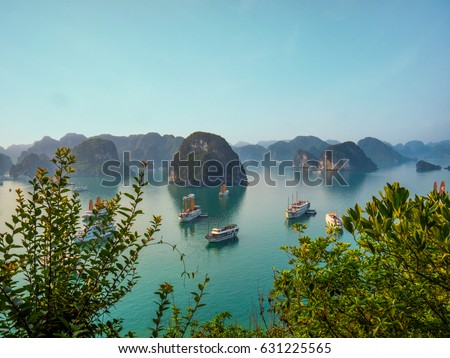 View over famous Ha Long Bay. Viewpoint over Halong Bays iconic limestone mountains, with cruise ships in the water, and leaves framing the foreground. #631225565