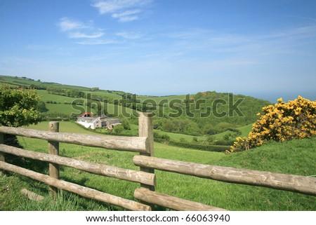 View over fields on Porlock Hill, Exmoor