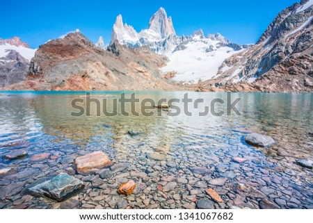View over Fitz Roy from Laguna de los Tres in Patagonia