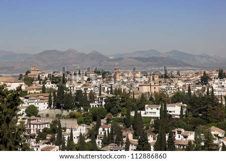 View over Granada - A extremely popular destination in southern Spain.
