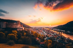 view over Heidelberg, Germany.  with castle and great sunset / sunrise.  great atmosphere with mega colors and clouds in the sky.