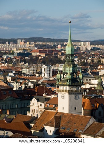 View over historic center of Brno with tower of Old Townhall, Czech republic