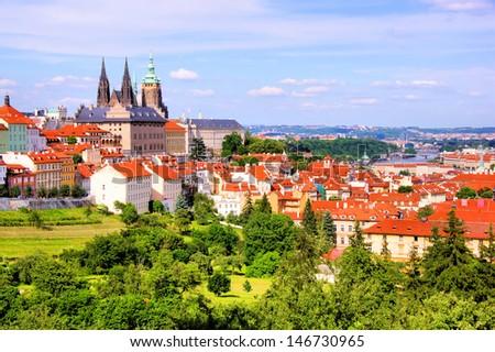 View over historic center of Prague with castle, Czech Republic #146730965