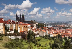 View over historic center of Prague with St. Vitus cathedral, Czech Republic