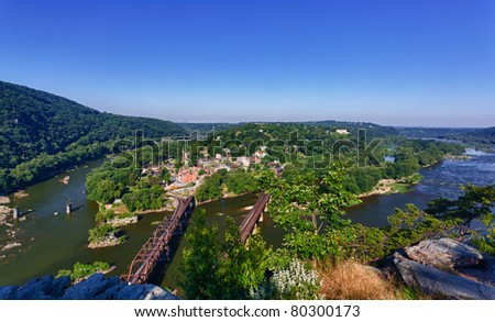 View over historical civil war town of Harpers Ferry, a National Park owned town, by the confluence of the Potomac and Shenandoah rivers