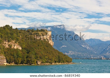 View Over Lake Garda in Italy. Bright summer shot