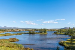 View over lake Thingvallavatn in Thingvellir national park in the countryside of Iceland