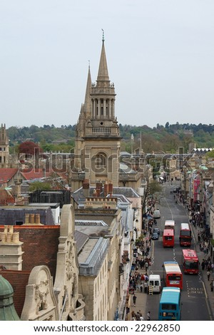 View over main road in Oxford city center from the Carfax Tower, UK