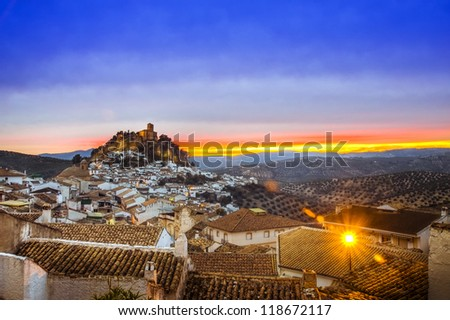 View over Montefrio in Granada, Spain towards the Moorish castle on the hill.