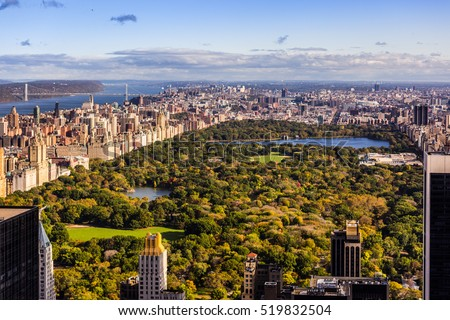 view over New York Central park area from above