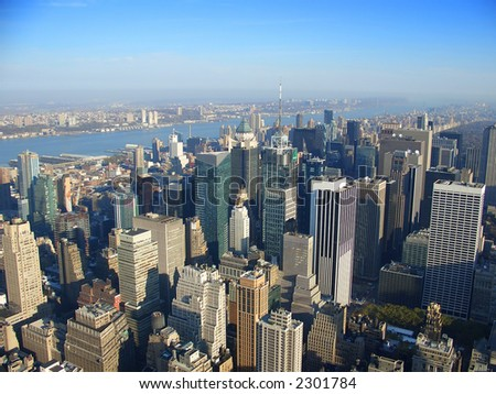 View over north west Manhattan, New Jersey, Hudson river from Empire State building in the morning, New York #2301784
