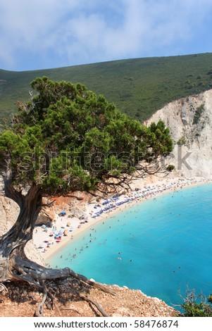 View over Porto Katsiki beach in Lefkas island Greece