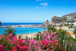 View over Puerto Rico's beach. Gran Canaria, Spain