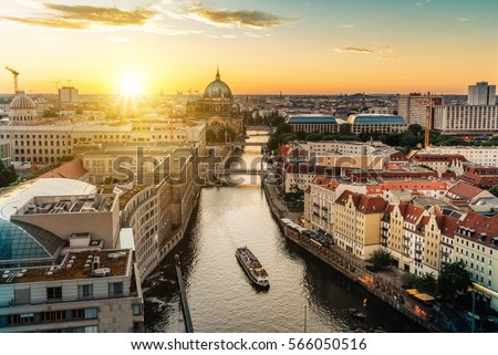 view over river on Berlin skyline with Berlin Cathedral  #566050516