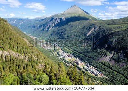 View over Rjukan, Norway as seen from the top of Krossobanen, a cable car reaching up to 886 meter above sealevel. Gaustatoppen in the background.