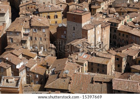 view over siena from the tower of palazzo pubblico torre del mangia siena tuscany southern italy europe