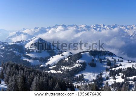 View over Swiss alps from Mount Rigi, Switzerland. Photo taken April 14th, 2021, Rigi Kulm, Switzerland. Stock fotó ©